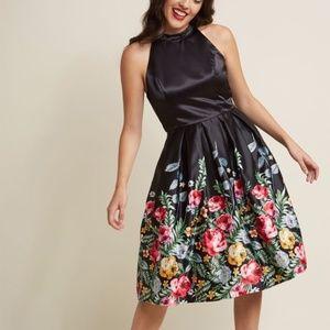 Modcloth Liza Luxe Satin Rose Dress Super NEW RARE